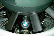 Blätter des Lüftungsrades und Emblem auf dem BMW-Flugmotor 801 der Focke-Wulf FW 190