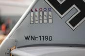 Werknummer 1190 und Markierungen für fünf Abschüsse auf dem Seitenleitwerk der Bf 109 E