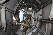 Blick in den Rumpf des Messerschmitt-Wracks