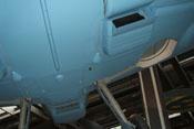 Rumpfboden der Bf 109 mit Ölkühler, Wasserkühler und Fahrwerkschacht