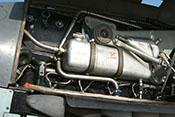 Kühlmitteltank 'Glykol' und Hydrauliköltank 'FL-Drucköl' auf der linken Seite des Flugzeugtriebwerkes DB 605
