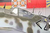 Sichtverbesserter Erla-Windschutzaufbau, ein Erkennungsmerkmal der späten Bf109-Varianten