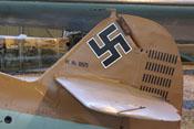 Hakenkreuz auf dem Seitenleitwerk der Messerschmitt Bf 109