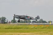 Messerschmitt Bf 109 G-4 'Rote 7' der Messerschmitt Stiftung beim Landeanflug auf der Internationalen Luft- und Raumfahrtausstellung in Berlin