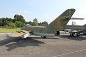 Mikojan-Gurewitsch MiG-17 F (NATO-Code: Fresco C), das erste mit Nachbrenner ausgerüstete sowjetische Jagd-/Jagdbombenflugzeug